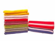 Toalha de rosto de algodão com listras brancas - Várias cores