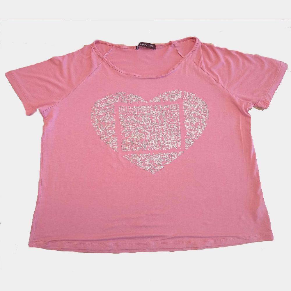 Blusa Estampa de Coração Plus Size