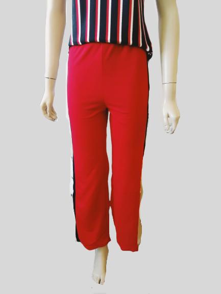 Calça Pantalona Feminina Com Botões dos Lados