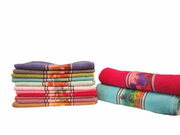 Toalha de banho de algodão estampada - Várias Cores