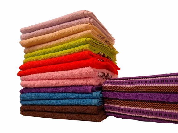 Toalhas de rosto de algodão com listras - Várias cores (2 unidades)