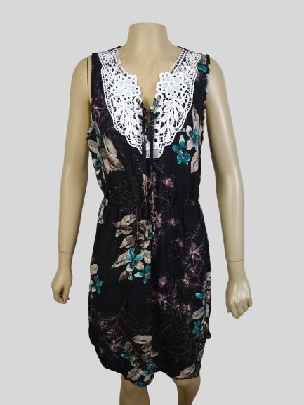 Vestido Estampado Floral com renda