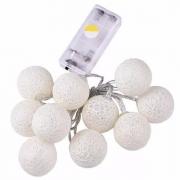 Cordão 15 Bolas LED - Fio Transparente C/ LED Morno