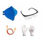 Kit de Segurança EPIs Máscara PFF2 + Óculos + Luvas + Protetor Auditivo