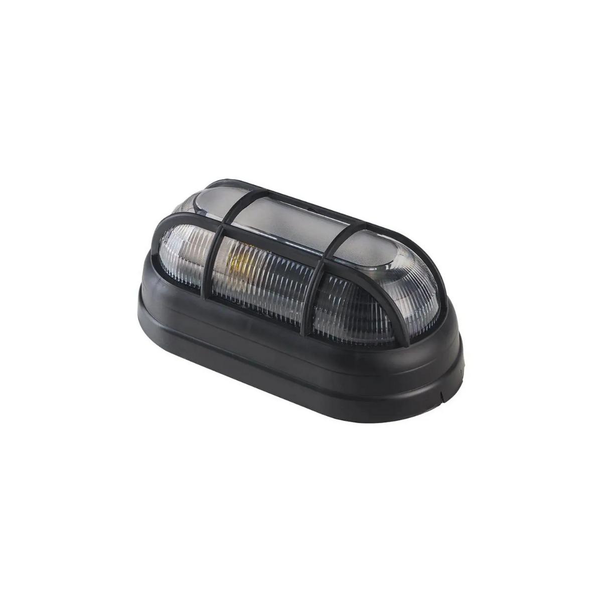 Luminária Externa Arandela Tartaruga Preta E27 com Grade OPL