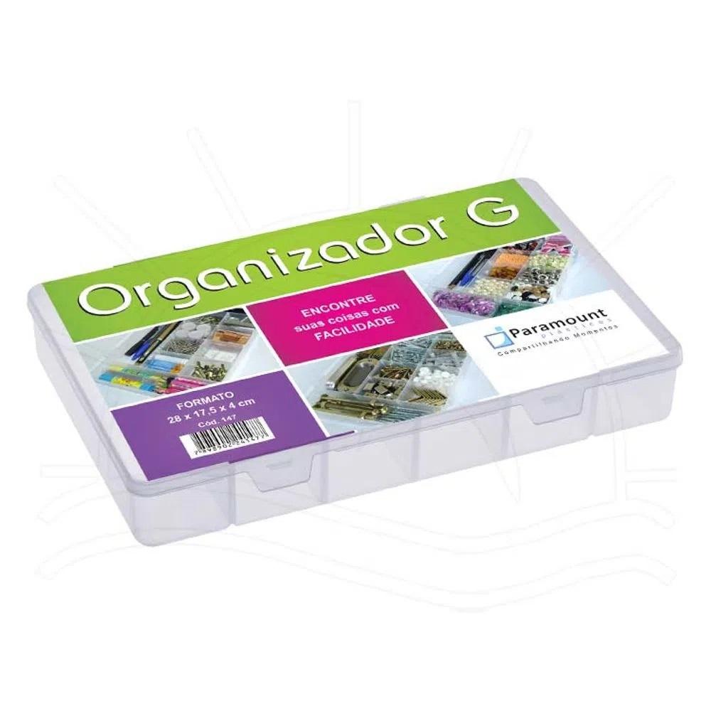Caixa organizadora plástica, translúcida, G com 11 divisórias fixas