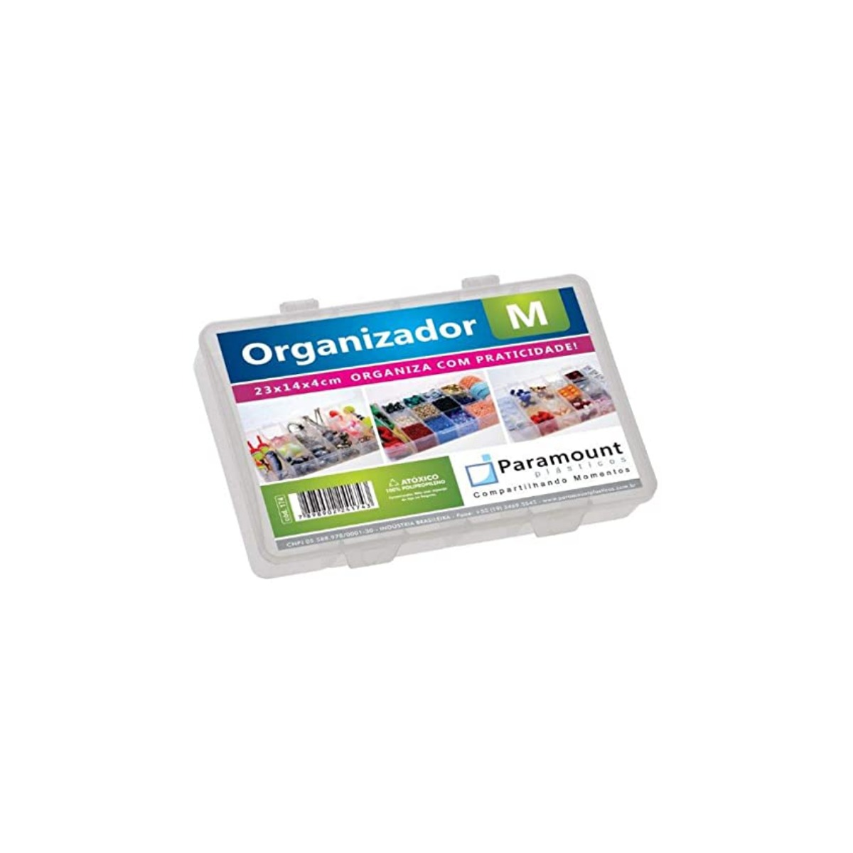 Caixa organizadora plástica, translúcida, M com 14 divisórias fixas