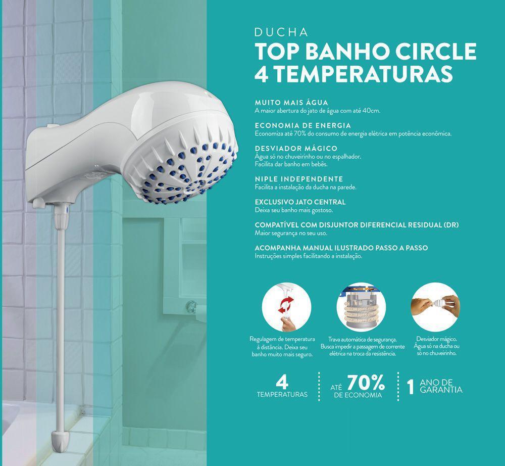 Chuveiro elétrico de parede Sintex Top Banho Circle branco 5500W 127V