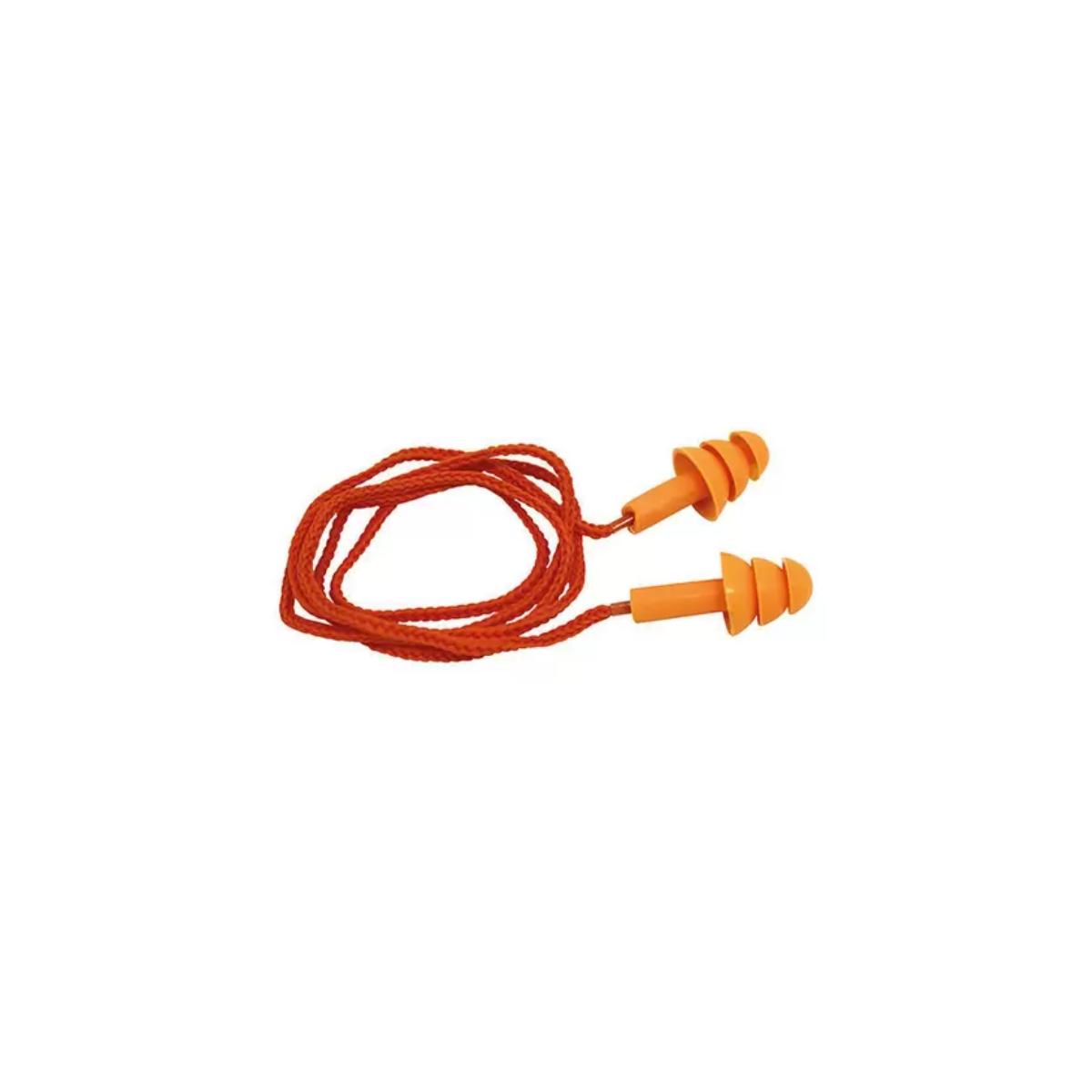 Kit 10 Protetores Auditivos Auriculares K-10 Plug Silicone Laranja