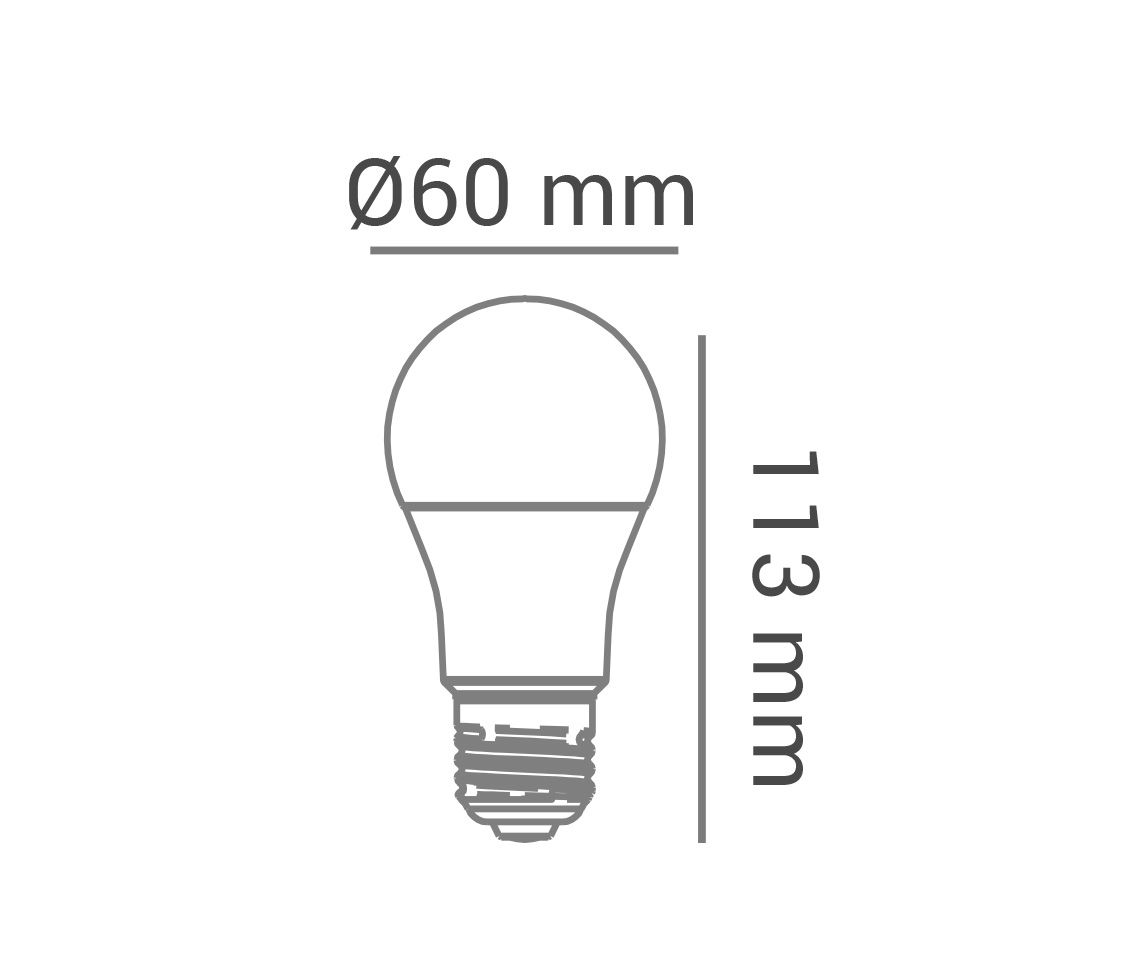 Conjunto Lâmpada Bulbo LED branca fria A60, 9.8W, 810lm, 6.500K