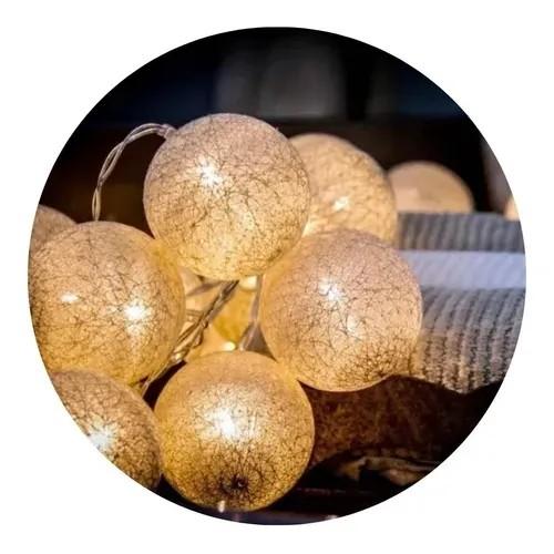Luzes Varal Decoração LED 15 Bolinhas Brancas Vintage