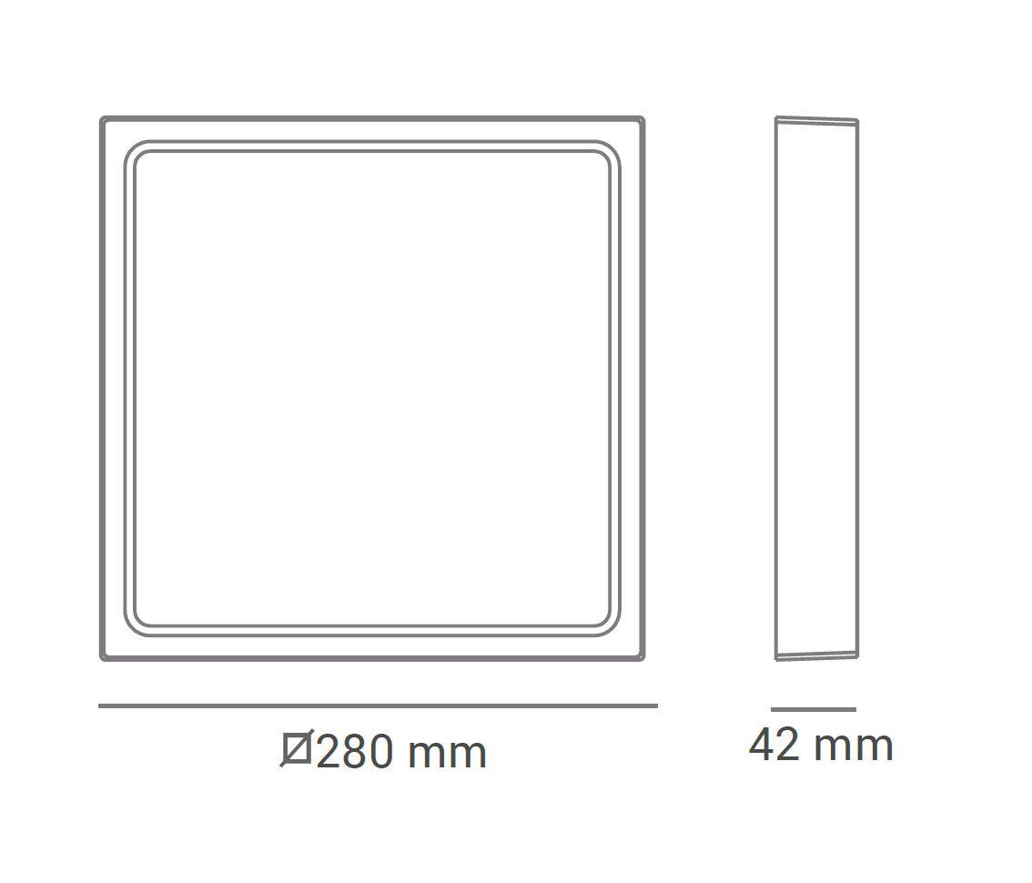 Paflon ECO 32580 28x28 quadrada de sobrepor, luz branca fria, 24W, 1512lm, 6.400K