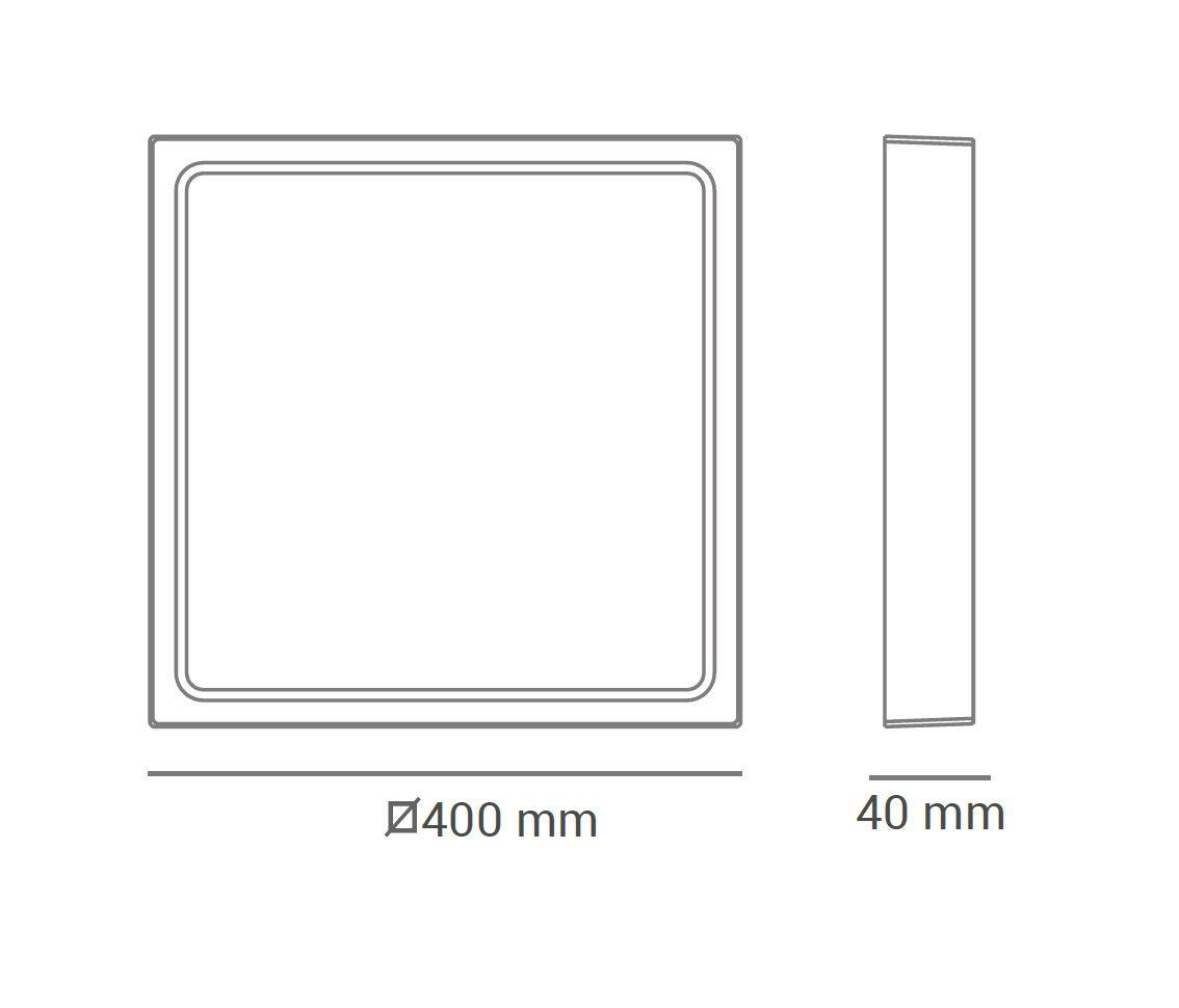 Paflon ECO 32603 40X40 quadrada de sobrepor, luz branca fria, 36W, 2340lm, 6.400K