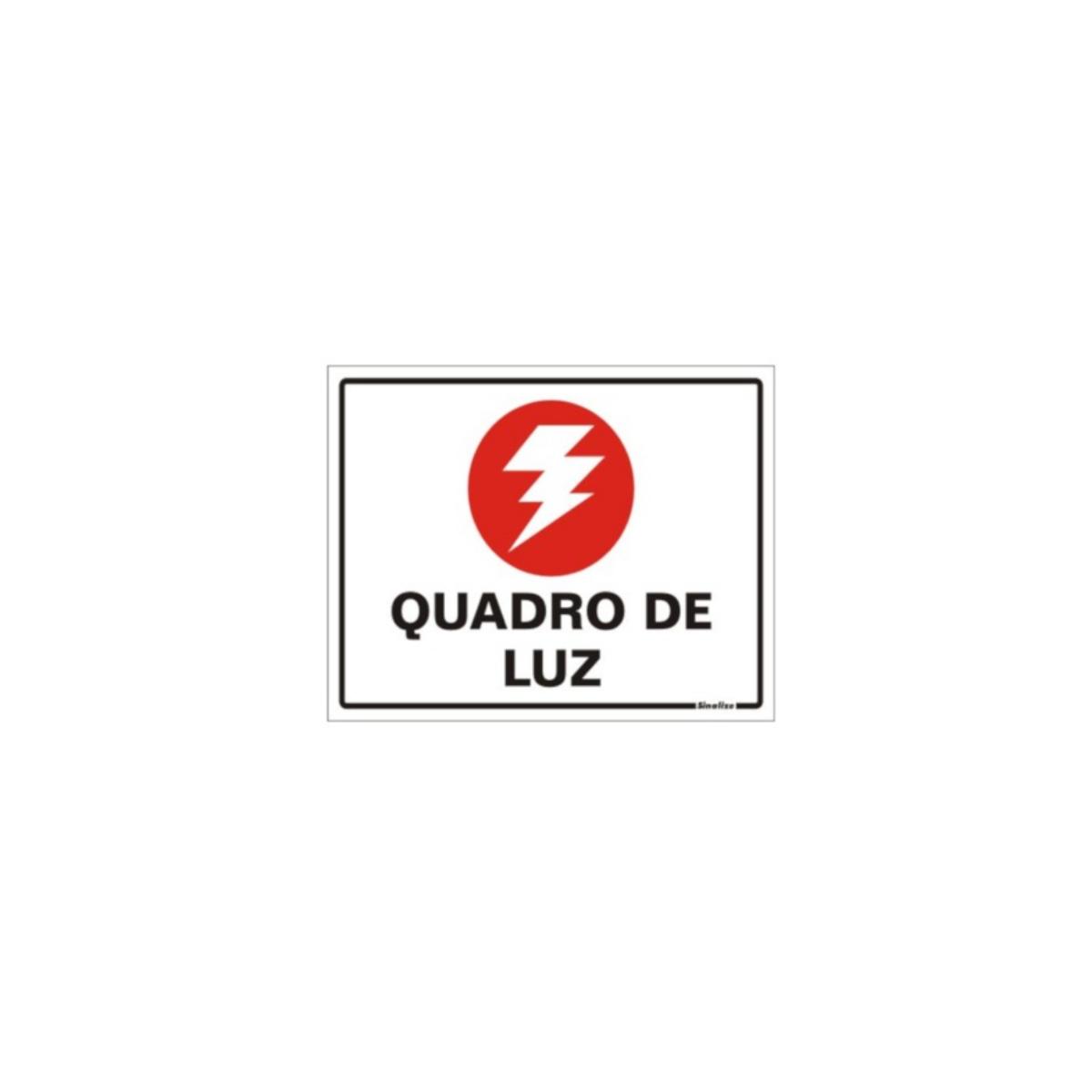 Placa de Sinalização Quadro de Luz 15x20cm Sinalize