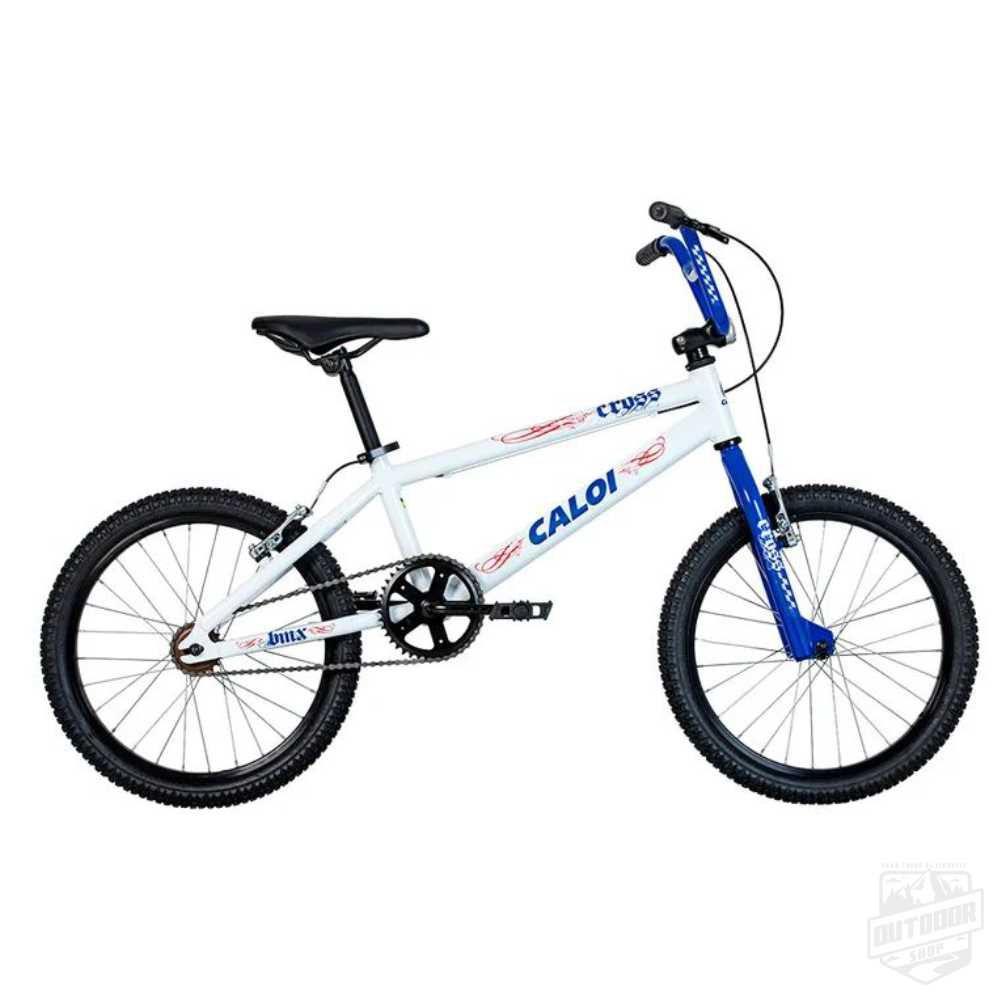 """Bicicleta Cross Aro 20"""" Branca e Azul - Caloi"""