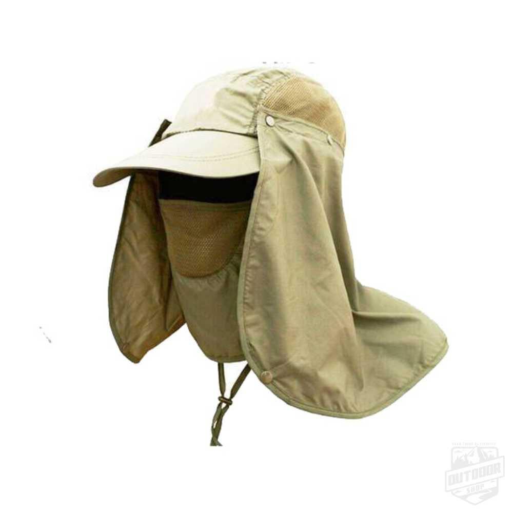 Boné Legionário com Máscaraca de Proteção UV40 Caqui - Echolife