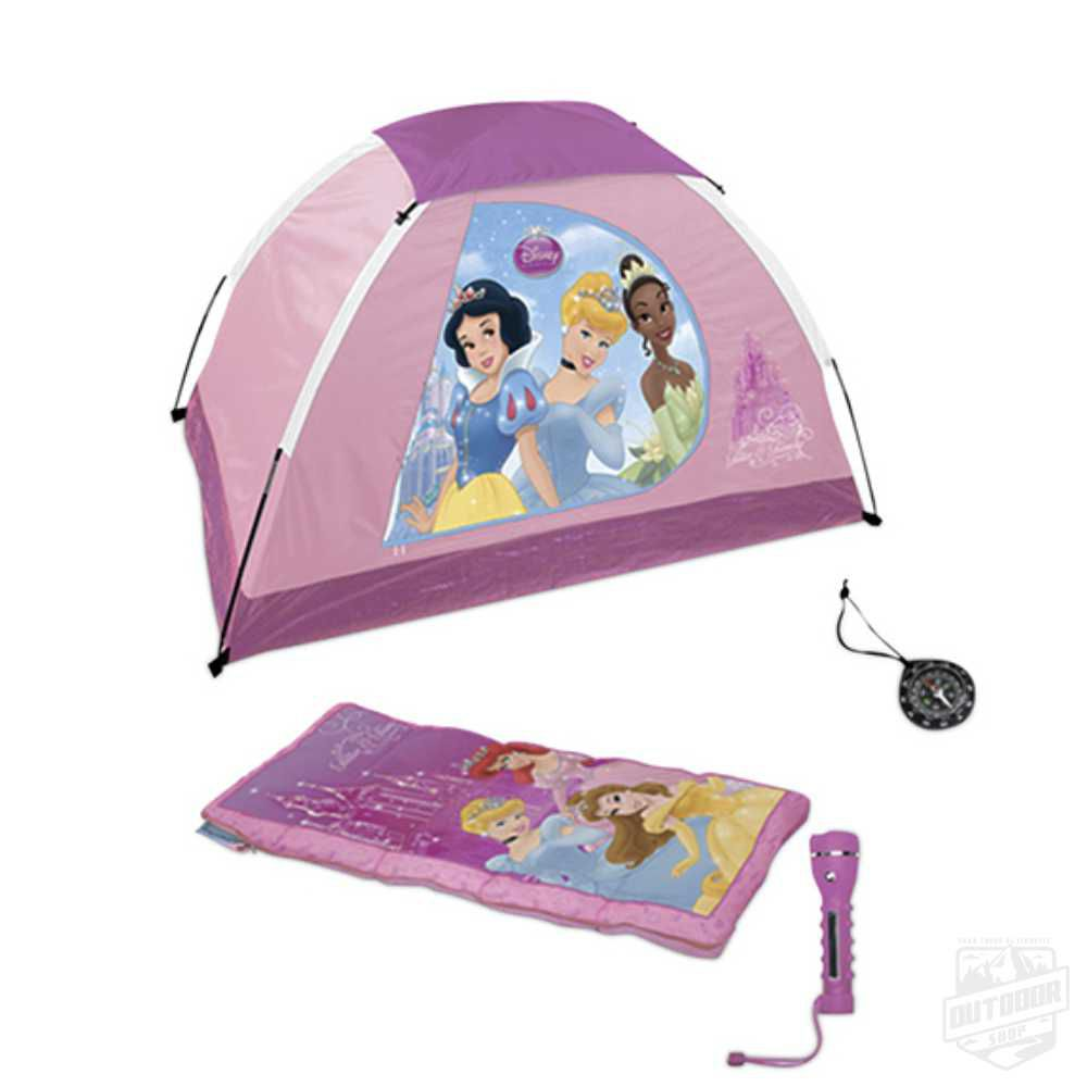 KIT Camping 4 peças - Barraca + Lanterna + Saco Dormir + Bússola Princesas - Echolife
