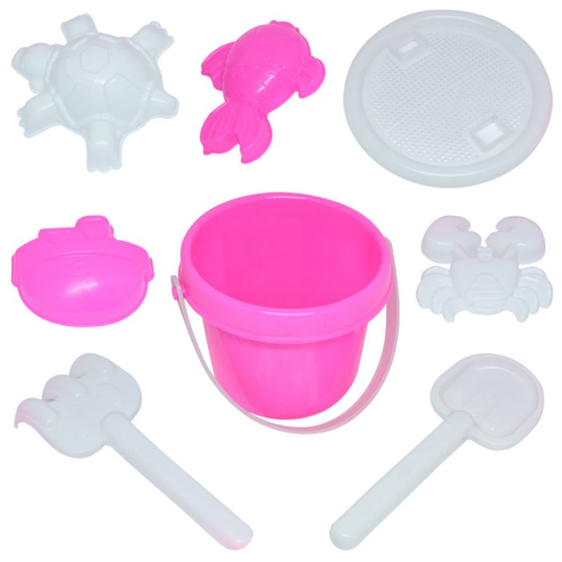 Kit Praia Balde com 8 peças rosa 13cm - Belfix