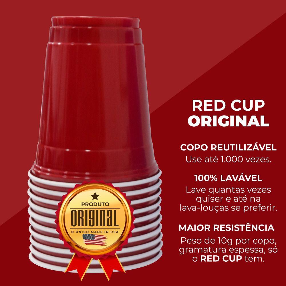 100 Red Cup Original Copo Vermelho Americano Importado 500 ml