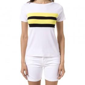 Blusa Branca Color Block