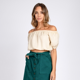 Blusa Jeans Cropped Ciganinha Cor Off White