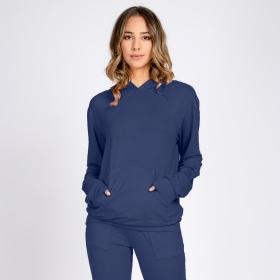 Blusa Moletom Leve Bolso Canguru com Capuz Azul Noite