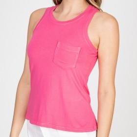Blusa Regata Cropped Bolsinho Pink