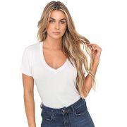 Blusa T-Shirt Decote V Branca