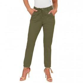 Calça Jeans Cigarrete Jogger com Cordão Verde Militar