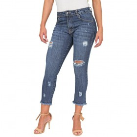 Calça Jeans Cigarrete Lady Destroyed