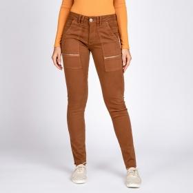 Calça Jeans Color Skinny Bolso Utilitário com Zíper Cor Rocha
