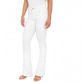 Calça Flare Color em Jeans de Moletom Cor Branca