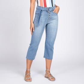 Calça Pantacourt Botões Aparentes Cinto Jeans Azul Claro