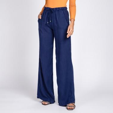 Calça Pantalona Liocel Elástico na Cintura Cor Azul Noite