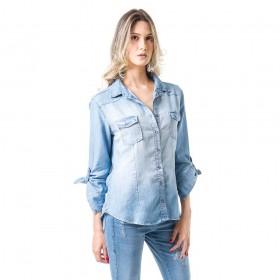 Camisa Jeans Bloom Ajustada Azul Claro