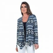 Cardigan Bloom Malha Jacquard Estampado