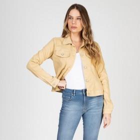 Jaqueta Jeans tipo Moletom Cor Areia Quente
