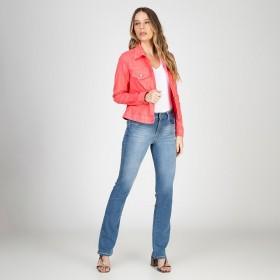 Jaqueta Jeans tipo Moletom Cor Chiclete