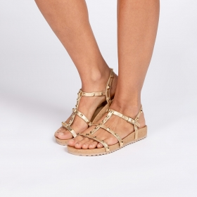 Rasteira Bloom Birken Spike Dourada