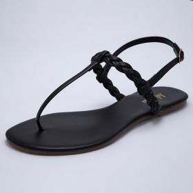 Sandália Bloom T-Strap Trança Preta
