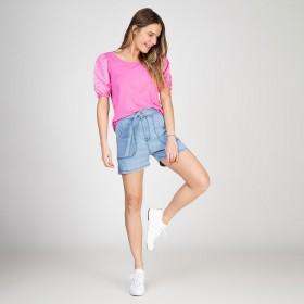 Shorts Jeans Bolso Utilitário Com Cinto Delavê