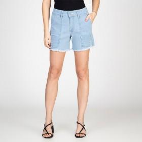 Shorts Jeans Cargo Barra Desfiada Delavê