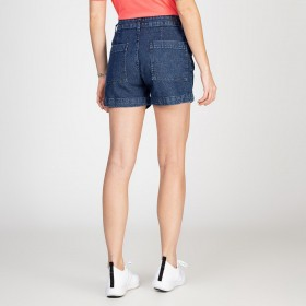 Shorts Jeans Tipo Alfaiataria Com Pregas Escuro