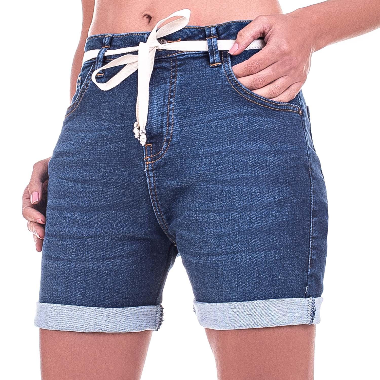 Bermuda jeans Jogger Com Elastano e Cinto