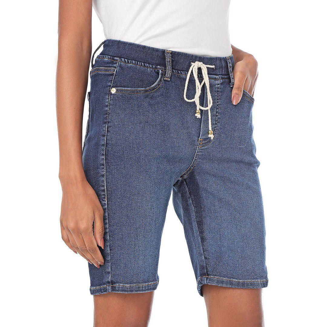 Bermuda Jogger Jeans com Elastano e Elástico na Cintura