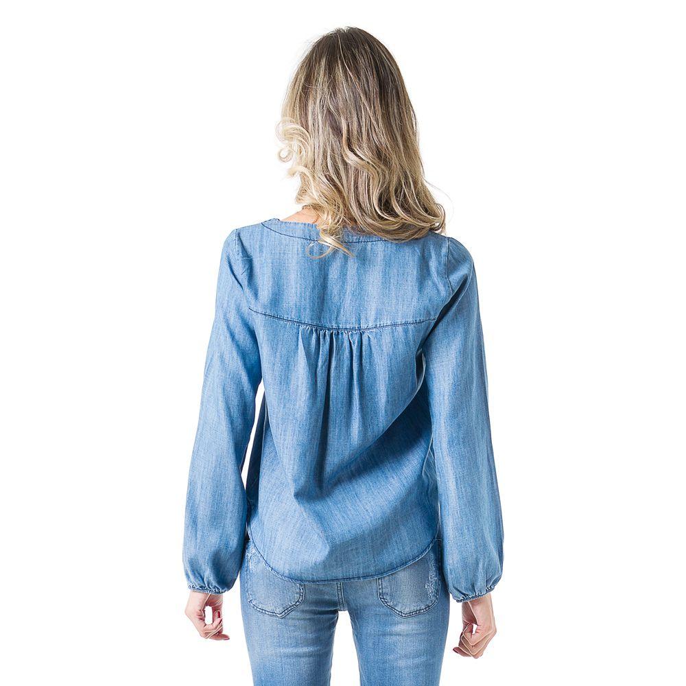Blusa Bata Jeans Bloom Manga Longa Azul