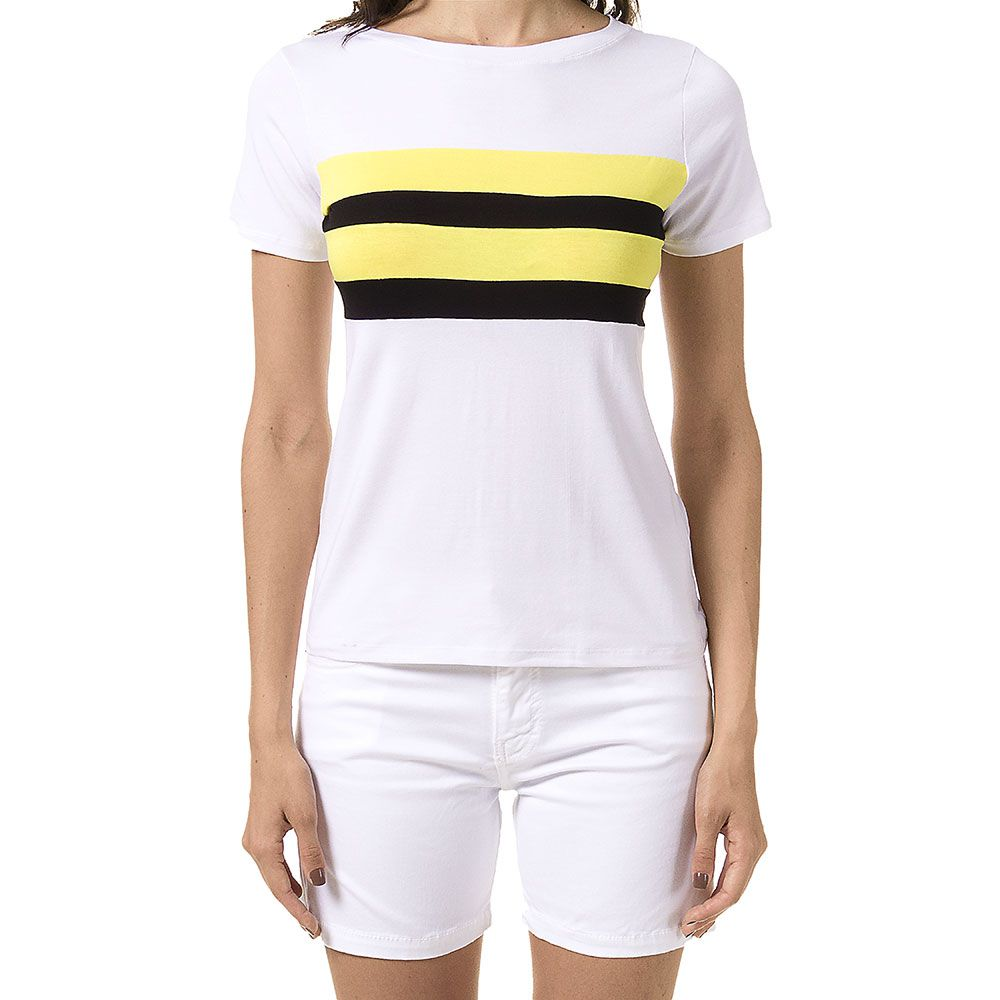 Blusa Branca Color Block