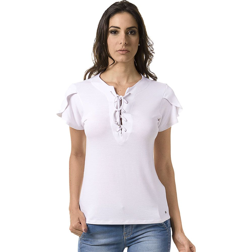 Blusa Branca Decote Amarração