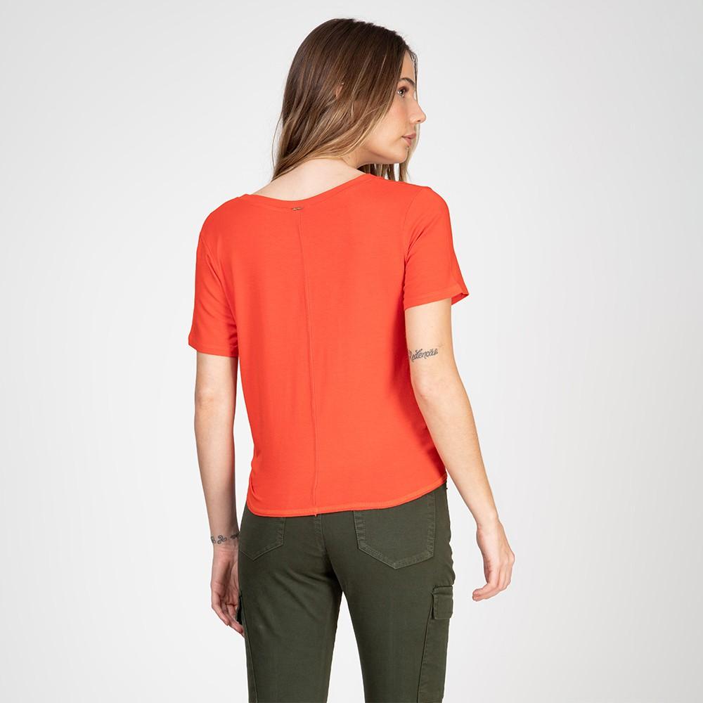 Blusa Decote V com Amarração Lateral Cor Laranja