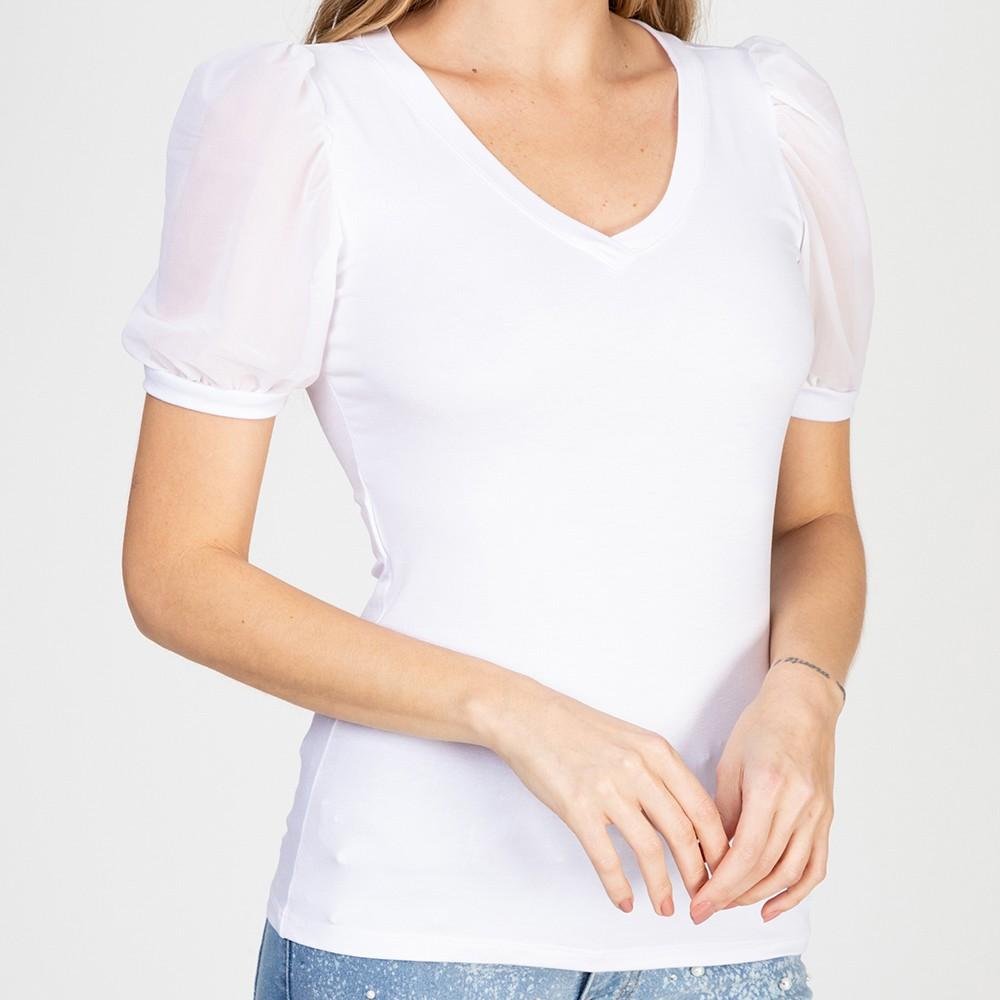 Blusa Decote V Manga Bufante Tule Branco